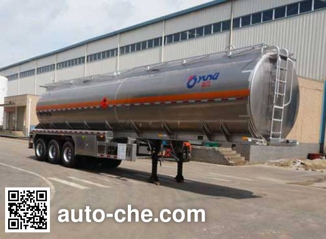 Yunli flammable liquid aluminum tank trailer LG9402GRY