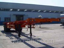 Container transport skeletal trailer