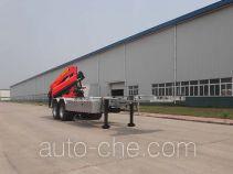 Qingzhuan flatbed trailer mounted loader crane QDZ9290JSQ